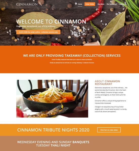 Custom Websites - Cinnamon Indian Restaurant