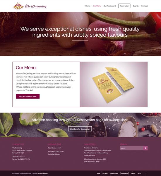 Custom Websites - Darjeeling Indian Restaurant